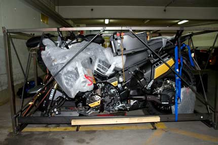 Yamaha in original box ready for transport by air freight to Nepal